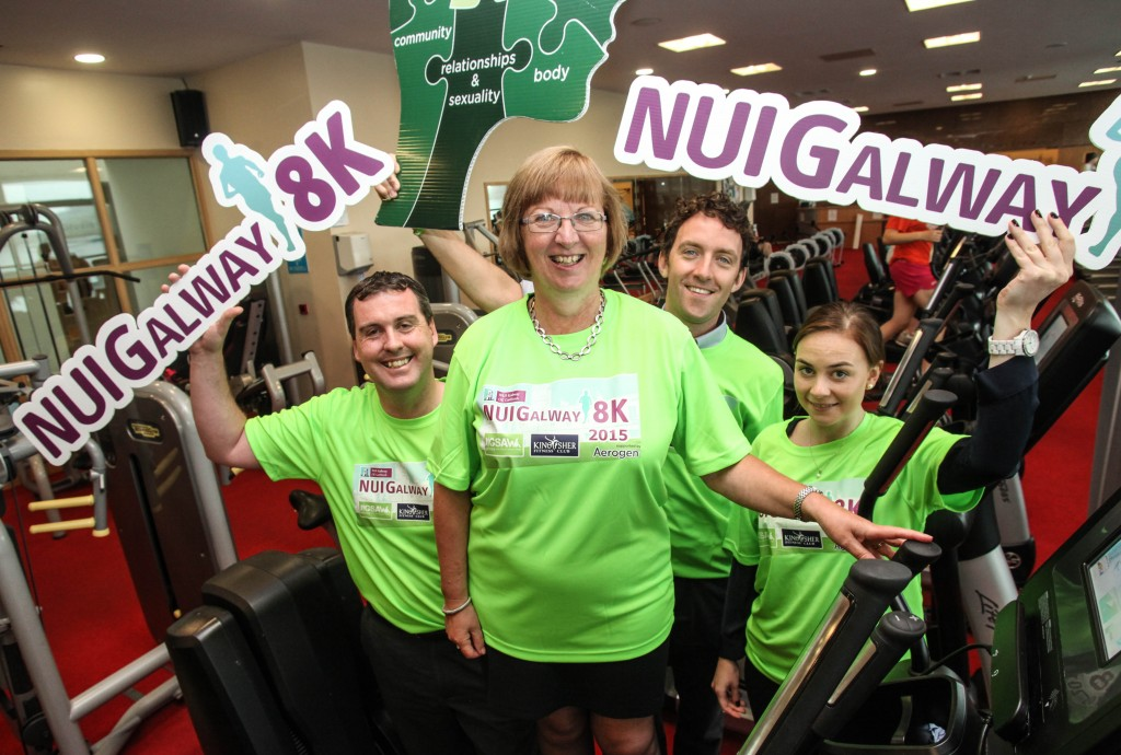 At the launch of the NUI Galway 8k (l-r): Brian King, Kingfisher Club; Dr Pat Morgan, VP for the Student Experience, NUI Galway; Justin McDermott, Jigsaw Galway; and Emer Kavanagh, Aerogen.