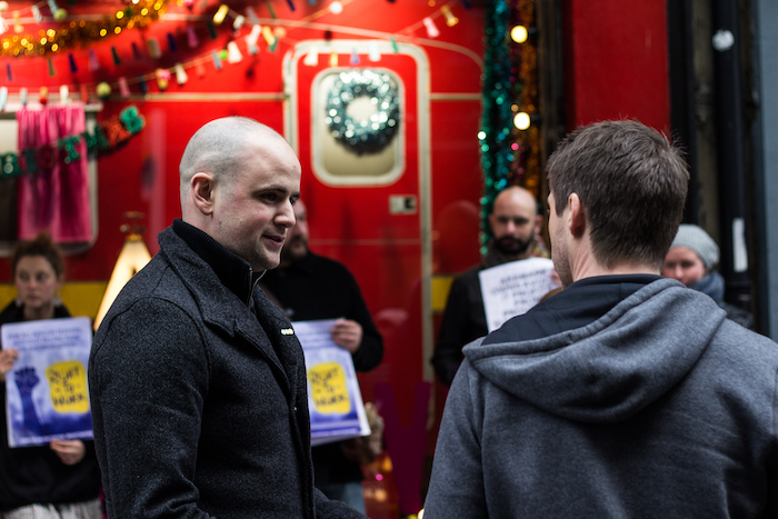 USI President Michael Kerrigan protesting outside Avoca in December Photo by Roisin Power for University Times
