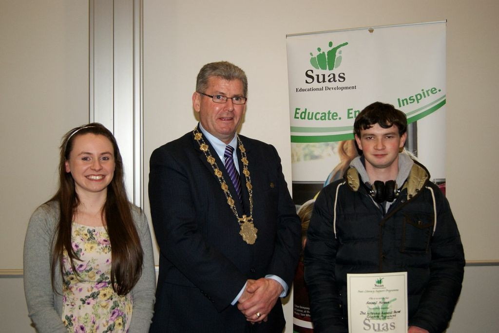 Cathy Gormely, Galway Mentor Officer, with Deputy Lord Mayor Frank Fahy, and Mentor Robert Hogan.