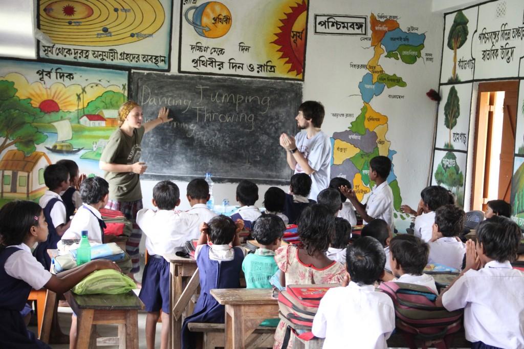 Ciara Spain and Brian Maguire teaching in Paschim Kailashpur FP school in the Sundarbans
